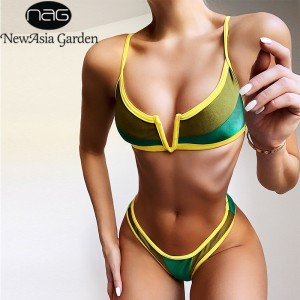 NewAsia Patchwork Sexy Bikini Set V Neck Push Up Swimwear Women Triangle Swimsuit Summer Bathing Suit 2020 New Monokini Brazilia