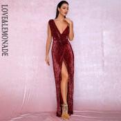 LOVE&LEMONADE Sexy Deep Red Deep V-Neck Whit Split Sequins Party Maxi Dress LM81849