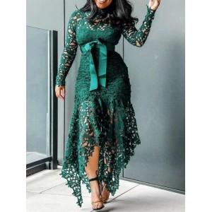 Echoine Slim Sexy Dress Women Spaghetti Straps Lace Mesh Perspective Party Fishtail Patchwork Midi Bodycon Plus Size Vestidos
