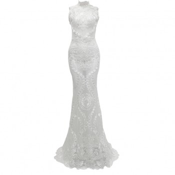 Luxurious Embroidery Lace Bodycon Dresses Elegant Long Prom Sexy Perspective Floral Dress Festa Dresses Woman Party Night#B
