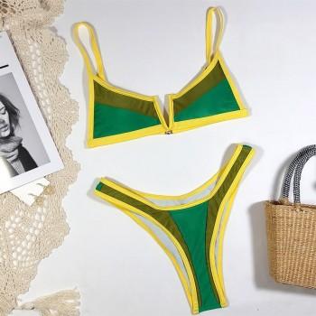 NewAsia Patchwork Sexy Bikini Set V Neck Push Up Swimwear Women Triangle Swimsuit Summer Bathing Suit 2020 New Monokini Brazilia