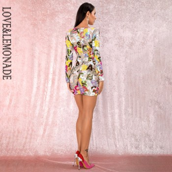 LOVE&LEMONADE Sexy Deep V-Neck Cut Out Letter Sequins Bodycon Long-sleeved Party Mini Dress LM82121