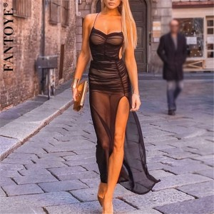 FANTOYE Double-Layer Mesh See-Through Dress With Inner Women Sexy Backless Maxi Bodycon Party Dress Summer Beachwear Dresses