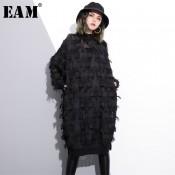 [EAM] 2020 New Spring Autumn Stand Collar Long Sleeve Perspective Black Loose Tassels Big Size Dress Women Fashion Tide JI780