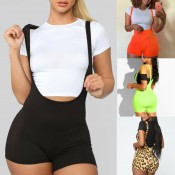 New Fashion Womens Spandex Bib Shorts 2019 Summer Casual Solid Color High Waist Rompers Trousers