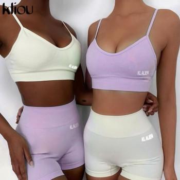 Kliou reflective letter print cotton 2 piece set women biker shorts v-neck crop top sleeveless casual outfits summer fashion
