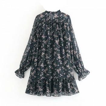 Aachoae Women Ruffle Bow Tie Mini Floral Print Dress Vintage Long Sleeve Casual Loose Pleated Dress Ruffles Party Dress Vestidos