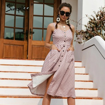 Simplee Casual Polka Dot Dress Sleeveless Holiday style high waist buttoned women's Dress Fashion Mid-length summer dresses NEW