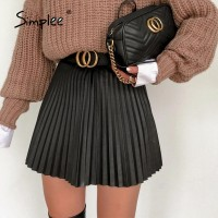 Simplee Fashion black women pleated skirt A-line high street sexy mini skirt 2020 Autumn winter high waist short skirts female