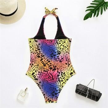 In-X Hollow out one piece swimsuit women Ring swimwear women Halter Leopard monokini Sexy bathing suit swimming suit 2021 String