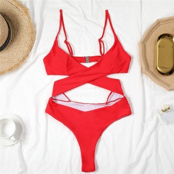 In-X Solid monokini Lace up one piece swimsuit women Hollow out swimwear female Brazilian bathing suit Backless swimming 2021
