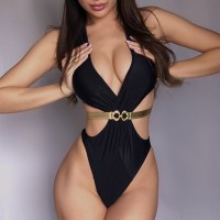 Sexy Backless One Piece Swimsuit Women High Cut Brazilian Monokini Swimwear Women Swim Trikini 2020 Glod Swimming Bathing Suit