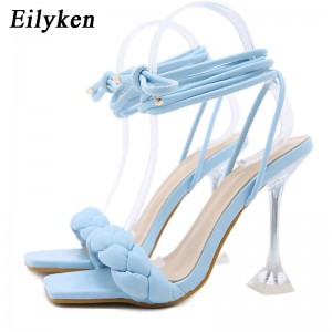 Eilyken 2021 New Summer Fashion Design Weave Women Sandals Transparent Strange High heels Ladies Sandals Open Toe Shoes