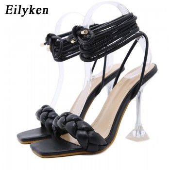 Eilyken 2021 New Summer Fashion Design Weave Women Sandals Transparent Strange High heels Ladies Sandals Open Toe Shoes
