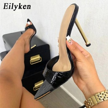 Eilyken Women slippers Snake Print Strappy Mule high heels Slippers Sandals flip flops Pointed toe Slides Party shoes Woman