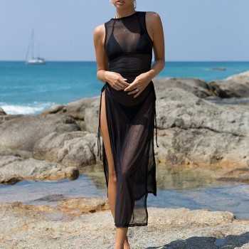 X Black 3 pieces set High neck swimwear female swimsuit cover-ups for women