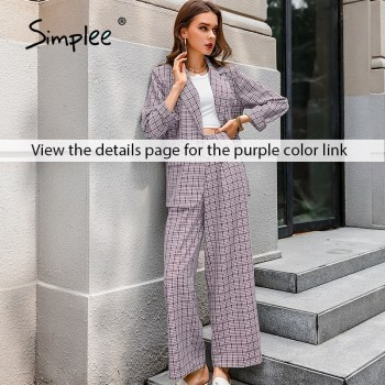 Simplee Elegant plaid two-pieces women blazer suit Casual streetwear suits female blazer set Chic office ladies women coat suit