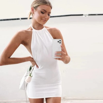 Cryptographic Halter Sexy Backless Mini Dresses Bodycon