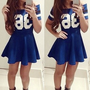 Active Slash Collar Short Sleeve Color Block Dress For Women blue