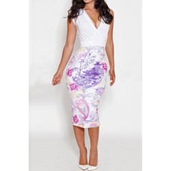 Alluring Plunging Neck Sleeveless Spliced Printed Bodycon Dress For Women