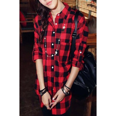 Casual Shirt Collar Long Sleeve Plaid Loose-Fitting Single-Breasted Shirt For Women red