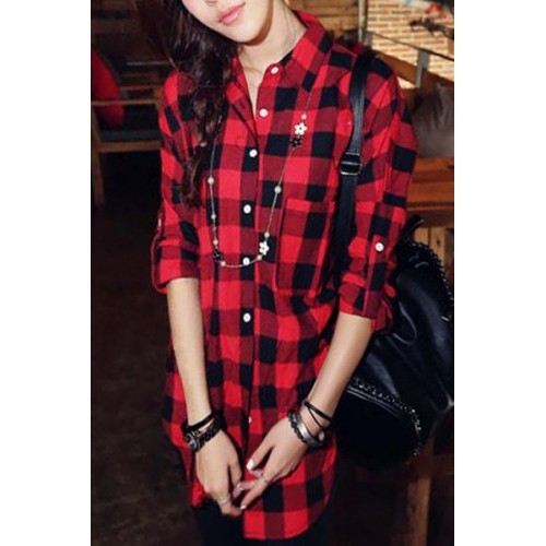 Casual Shirt Collar Long Sleeve Plaid Loose-Fitting Single ...