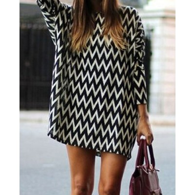 Casual Style Round Neck Long Sleeve Printed Loose-Fitting Dress For Women white black
