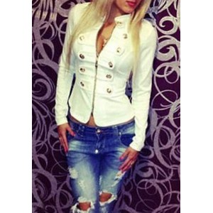 Double-Breasted Fashionable Stand Collar Zipper Long Sleeve Women's Jacket white