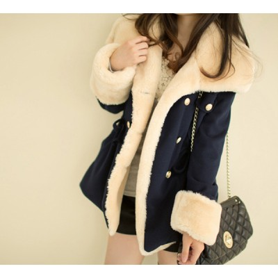 Double Breasted Fleece Lined Draw String Beam Waist Worsted Color Matching Coat For Women blue red camel