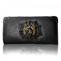 Fashion Women's Clutch Wallet With Spider and PU Leather Design black
