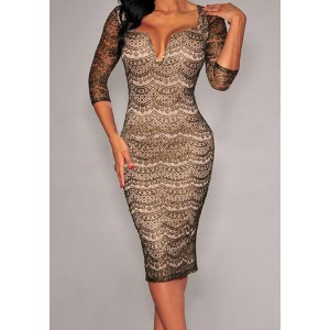Fashionable Women's Plunging Neckline 3/4 Sleeve Lace Dress black