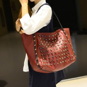 Fashionable Women's Shoulder Bag With Solid Color and Rivets Design red black blue