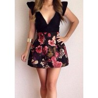 Floral Print Sexy Plunging Neck Sleeveless Women's Dress black