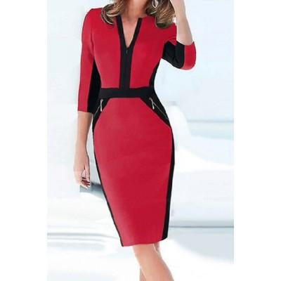 Formal Women's V-Neck Color Block 3/4 Sleeve Dress red