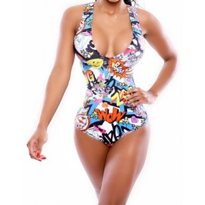 Full Print Slimming Fashionable Scoop Neck Women's Swimsuit