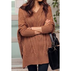 Hemp Flowers Loose-Fitting Stylish Hooded Long Sleeve Women's Sweater gray khaki