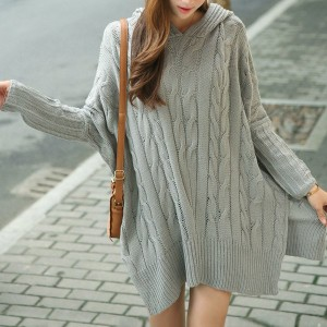 Hemp Flowers Loose-Fitting Stylish Hooded Long Sleeve Women's Sweater gray khaki