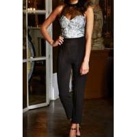 Hot Women's Halter Lace Embellished Sleeveless Jumpsuit black