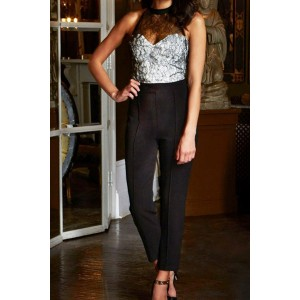 Hot Women's Halter Lace Embellished Sleeveless Jumpsuit black