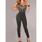 Hot Women's Strapless Lace Embellished Jumpsuit black