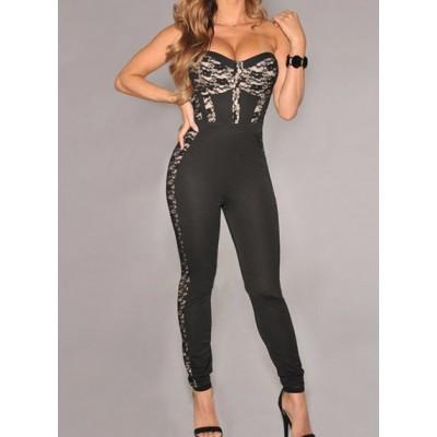 Hot Women's Strapless Lace Embellished Jumpsuit black