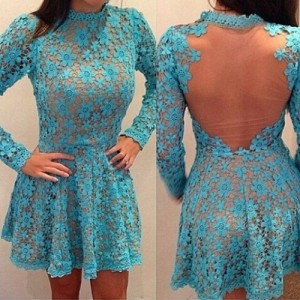 Lace Crochet Flower See-Through Sexy Round Neck Long Sleeve Women's Dress light blue