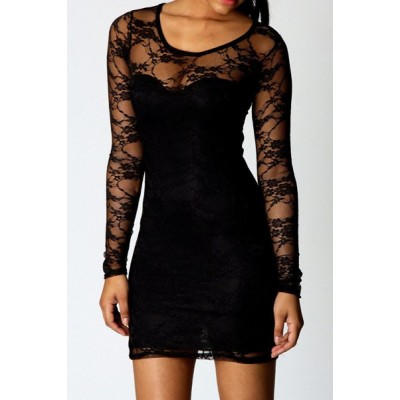 Lace Spliced Slimming Sexy Scoop Neck Long Sleeve Women's Dress black
