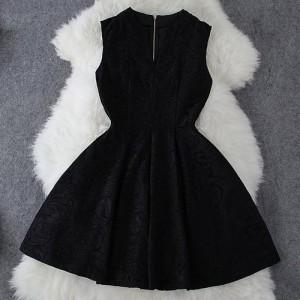 Ladylike V-Neck Sleeveless Solid Color Lace Dress For Women black