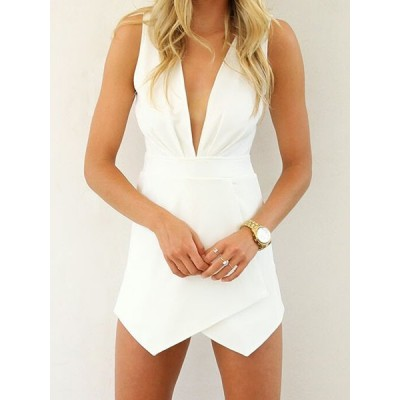 Plunging Neck Sleeveless Irregular Hem Solid Color Sexy Jumpsuit For Women white