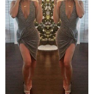 Plunging Neck Sleeveless Solid Color Asymmetric Sexy Dress For Women gray