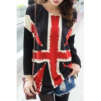 Printed Scoop Neck Long Sleeves Stylish T-Shirt For Women UK Flag