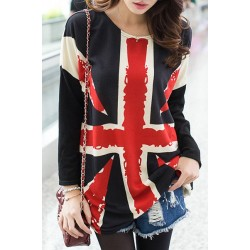 Printed Scoop Neck Long Sleeves Stylish T-Shirt For Women UK Flag