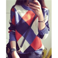 Round Neck Long Sleeves Argyle Stylish Sweater For Women