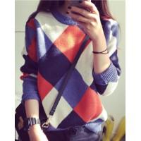 Round Neck Long Sleeves Argyle Stylish Sweater For Women